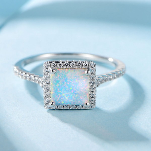 925 Sterling Silver Ring For Women Inlaid Cubic Zirconia and Opal Square Design Luxury and Fashion Polish Craft