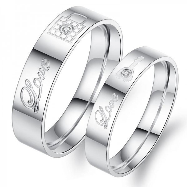Titanium Silvery Ring For Couples Lock and Key Pattern Love Engraved Inlaid Cubic Zirconia