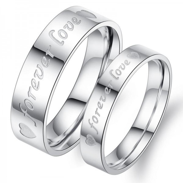 Titanium Silvery Ring For Couples Forever Love Engraved Simple and Fashion Heart Pattern