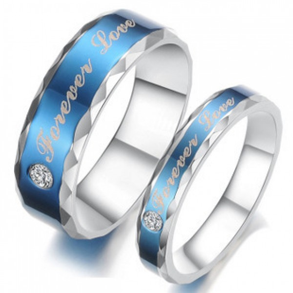 New Fashion Jewelry Blue Forever Love Couple Titanium Ring