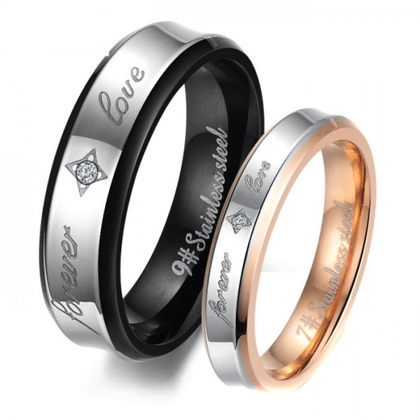 Titanium Silvery Ring For Couples Forever Love Engraved Plating Black and Rose Gold Inlaid Cubic Zirconia Elegant and Fashion