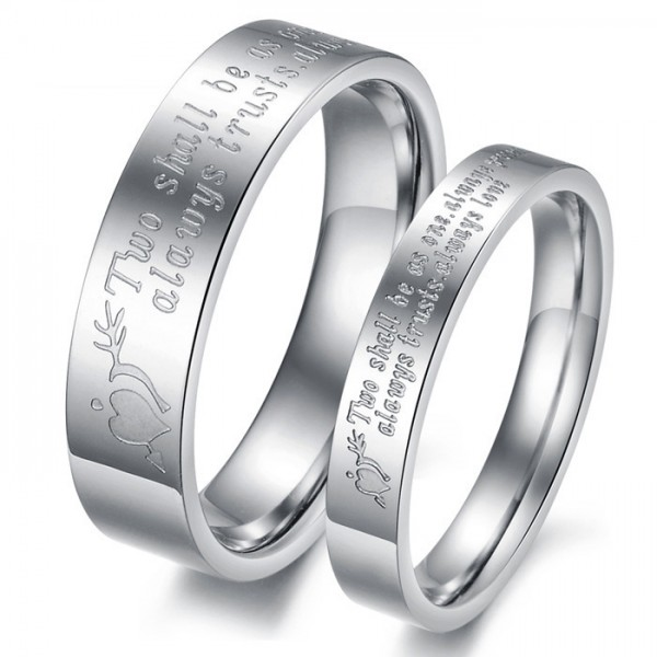 Titanium Silvery Ring For Couples Inner Arc Design Polish Craft Engraved Simple and Fashion