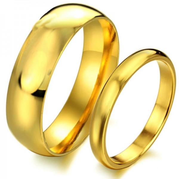 Titanium Golden Ring For Couples Luxury and Liberality Style Polish Craft