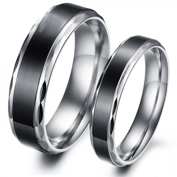 Titanium Black Ring For Couples Inner Arc Design Comfortable to Wear Simple and Cool