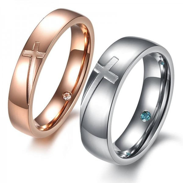 Titanium Silvery and Rose Gold Ring For Couples Inlaid Cubic Zirconia Cross Pattern Simple and Fashion Style