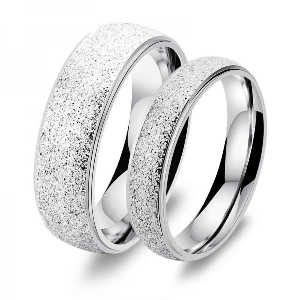 Titanium Silvery Ring For Couples Simple and Luxury Style Dull Polish Craft