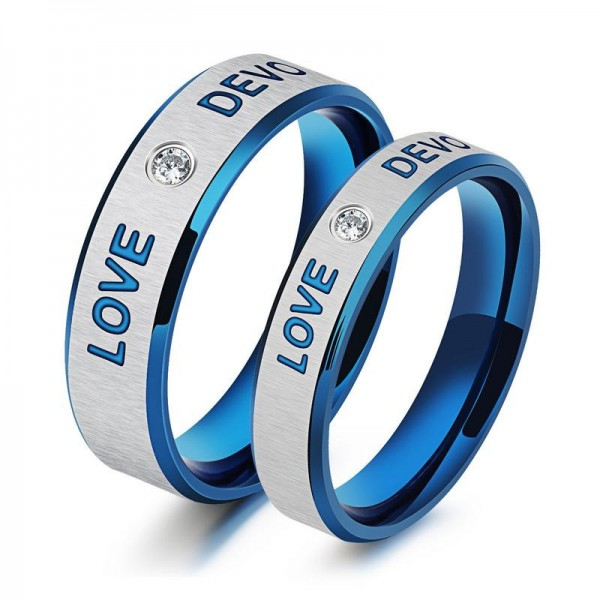 Love & Devotion Blue Rhinestone Glamour Couple Ring