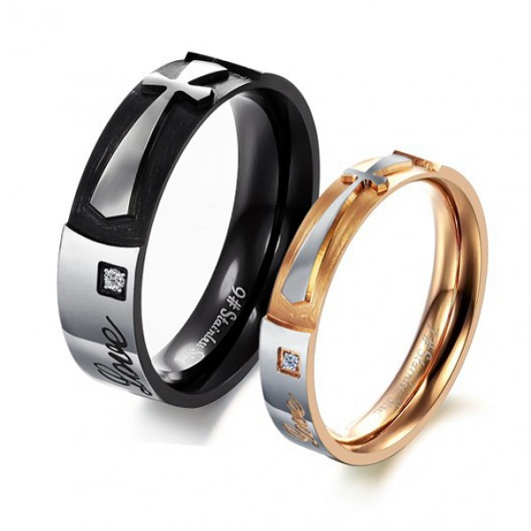 Pure Love Shining Crystal Drill Stainless Steel Cross Personality Lovers Ring