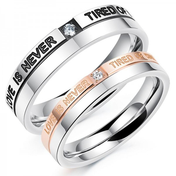 Titanium Silvery Ring For Couples Inlaid Cubic Zirconia Plating Black and Rose Gold Love Is Never Tired of Waiting Engraved Simple and Fashion