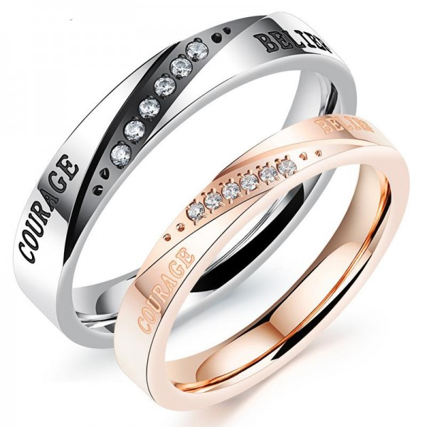 Titanium Silvery Ring For Couples Plating Black and Rose Gold Inlaid Cubic Zirconia Courage and Belief Engraved Fashion and Elegant