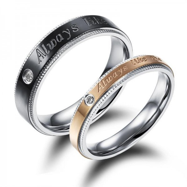 "Fashion ""Always Like"" Rhinestone Carving Edge Design Titanium Black and Rose Gold Ring For Couples Inlaid Cubic Zirconia"