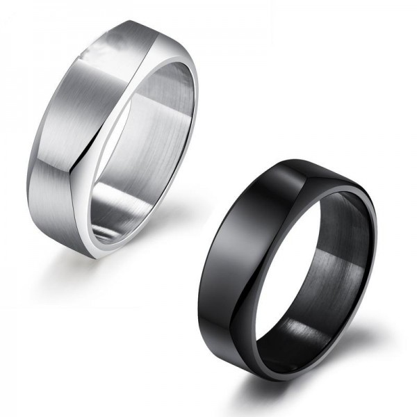 Titanium Black and Silvery Ring For Couples Simple and Cool Cutting Surface Polish Craft