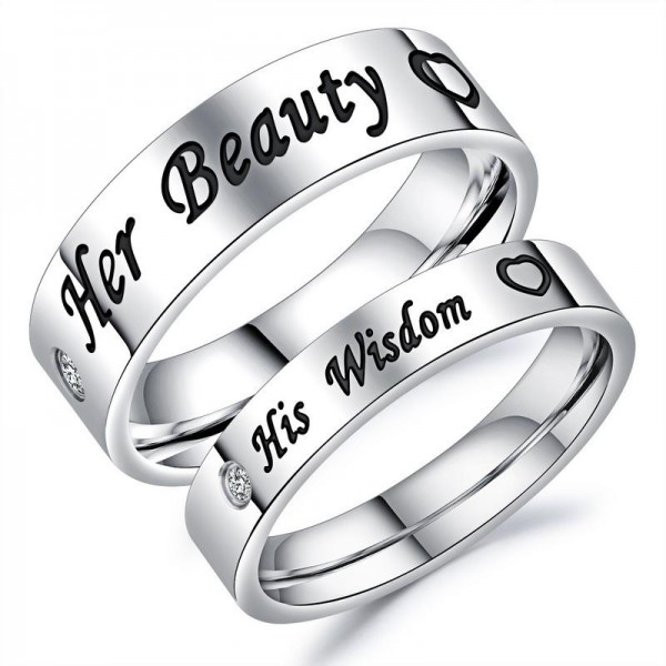 Her Beauty His Wisdom Titanium Ring Couple Ring