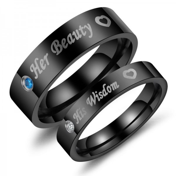 Her Beauty His Wisdom Fashion Diamond Black Titanium Lovers Ring