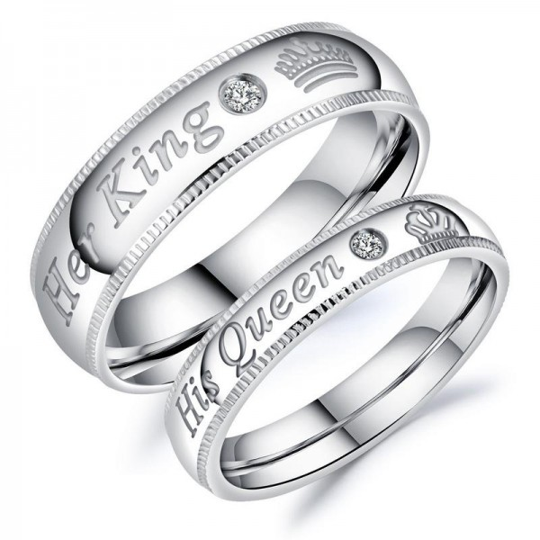 Titanium Silvery Ring For Couples Inlaid Cubic Zirconia Her King and His Queen Engraved Simple and Sweet