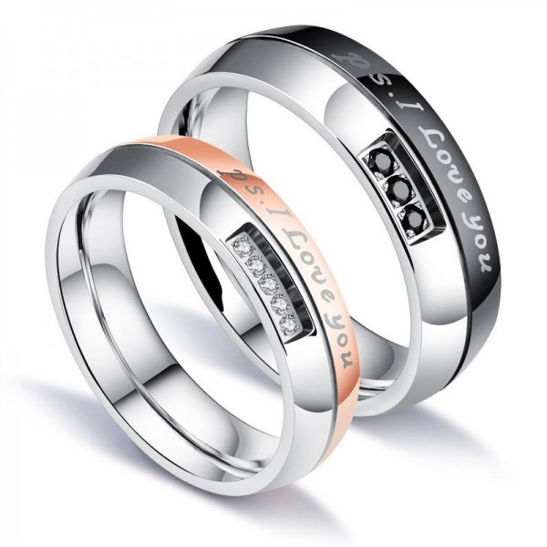 Titanium Silvery Ring For Couples Plating Black and Rose Gold Inlaid Cubic Zirconia Fluted Craft Simple and Fashion I Love You Engraved