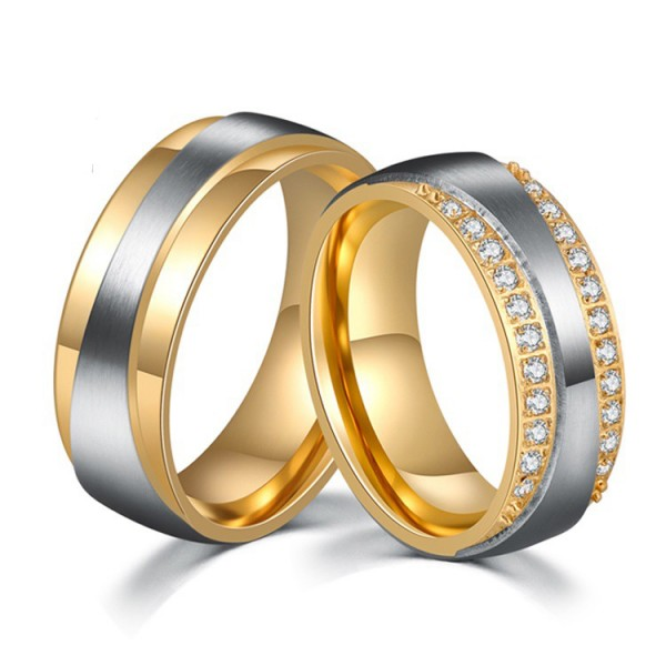 Titanium Silvery and Golden Ring For Couples Decent and Luxury Style Inlaid Cubic Zirconia