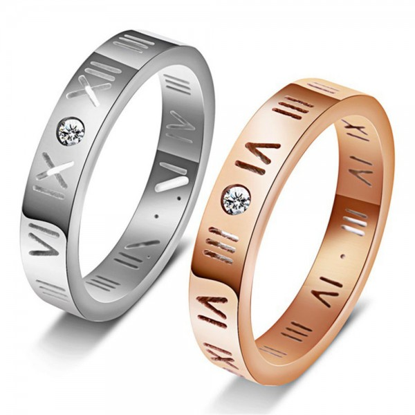 Titanium Silvery and Rose Gold Ring For Couples Rome Numeral Design Retro and Fashion Inlaid Cubic Zirconia