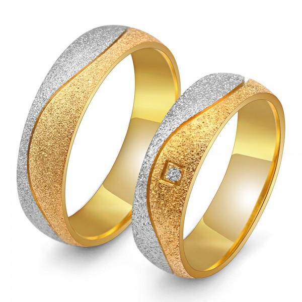 Titanium Silvery and Golden Ring For Couples Luxury and Fashion Dull Polish and Fluted Craft Inlaid Cubic Zirconia