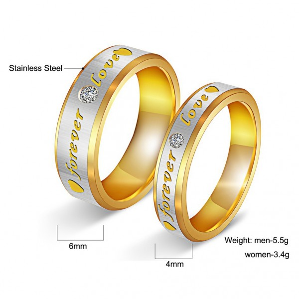Titanium Silvery Ring For Couples Inlaid Cubic Zirconia Gold-plating Forever Love Engraved Simple and Sweet