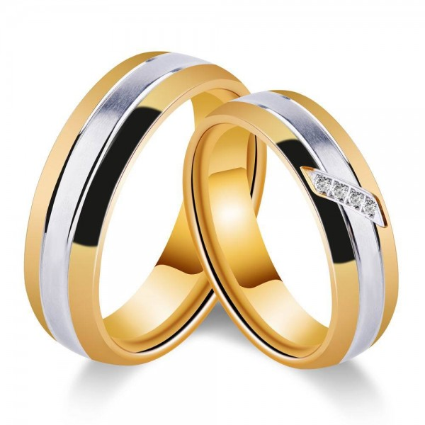Titanium Silvery and Gold Ring For Couples Inlaid Cubic Zirconia Fluted Craft Simple and Fashion Style Smooth Inner Arc