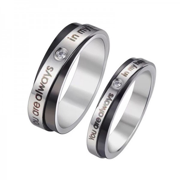Titanium Black and Silvery Ring For Couples Inlaid Cubic Zirconia You Are Always In My Mind Engraved Simple and Fashion