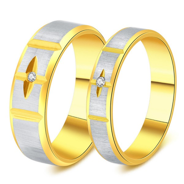 Titanium Silvery Ring For Couples Carving Cross Inlaid Cubic Zirconia Gold-plating Fashion and Liberality