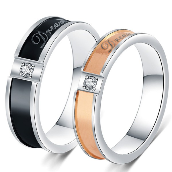 Titanium Black and Rose Gold Ring For Couples Inlaid Cubic Zirconia Exquisite and Fashion
