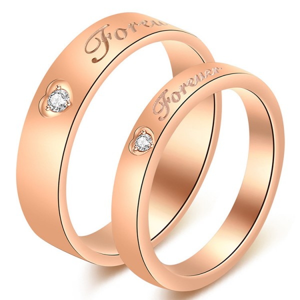 Titanium Rose Gold Ring For Couples Inlaid Cubic Zirconia Forever Engraved Heart Patter Design