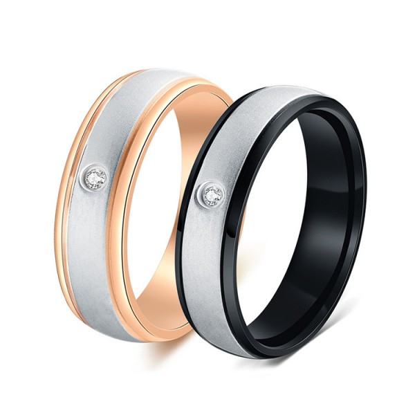 Titanium Silvery Ring For Couples Plating Black and Rose Gold Inlaid Cubic Zirconia Exquisite and Fashion Brushed Craft