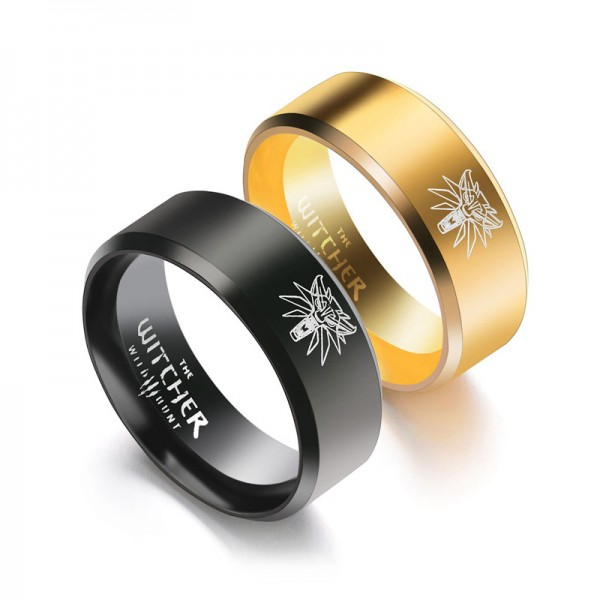 Titanium Black and Golden Ring For Couples Simple and Liberality Wolf Pattern Polish Craft