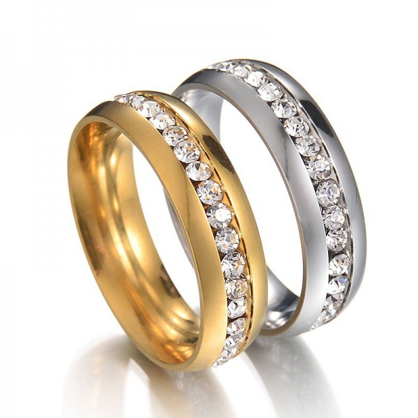 Titanium Silvery and Golden Ring For Couples Inlaid Cubic Zirconia Luxury and Fashion Style