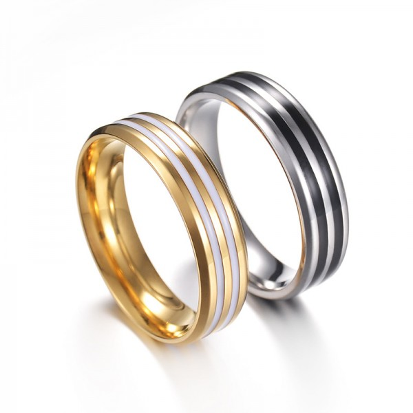 Titanium Silvery and Golden Ring For Couples Dripping Gel Craft Simple and Fashion