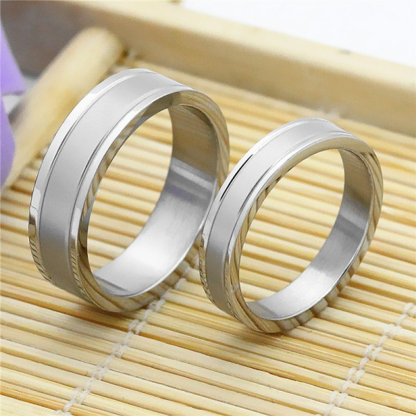 Titanium Silvery Ring For Couples Simple and Fashion Brushed Craft