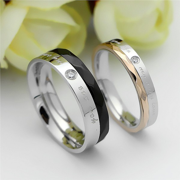 Titanium Silvery Ring For Couples Inlaid Cubic Zirconia Black and Rose Gold-plating Decent and Fashion