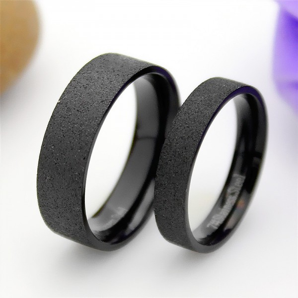 Titanium Black Ring For Couples Simple and Cool Style Dull Polish Craft