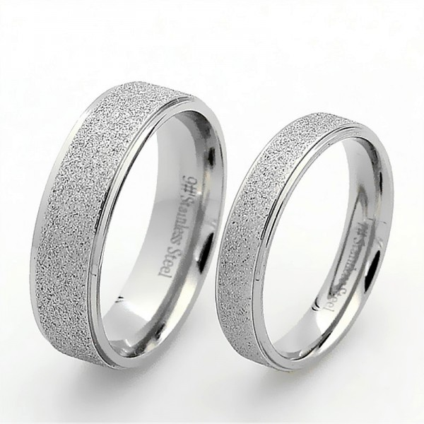 Titanium Silvery Ring For Couples Simple and Fashion Style Sanding Craft