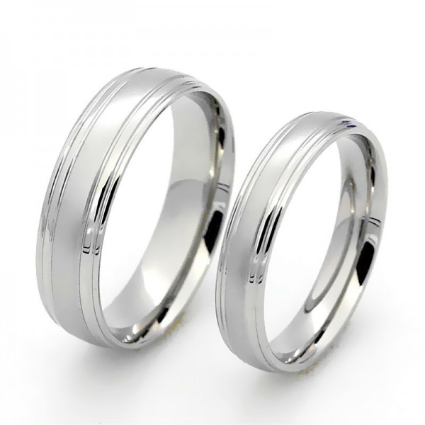 Titanium Silvery Ring For Couples Simple and Fashion Style Fluted and Polish Craft