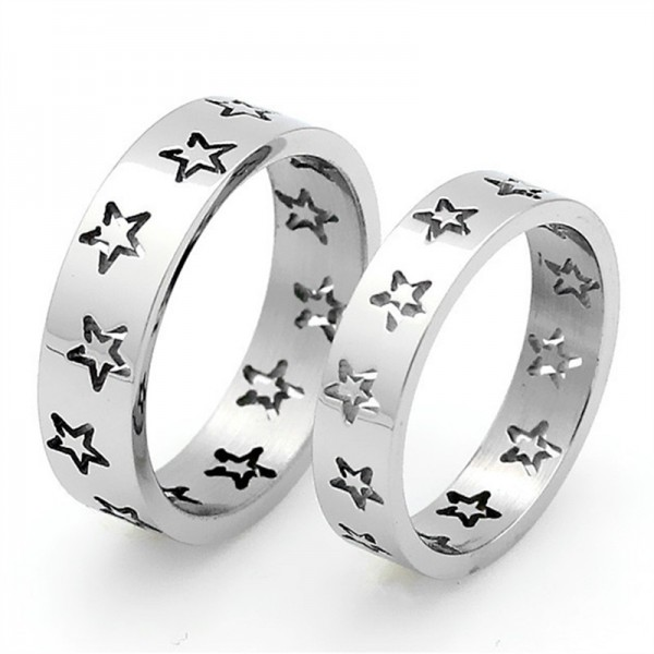 Titanium Silvery Ring For Couples Stars Design Simple and Fashion Hollow Out Craft