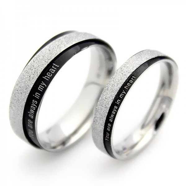 Titanium Silvery Ring For Couples Elegant and Liberality You Are Always In My Heart Engraved Dull Polish Craft