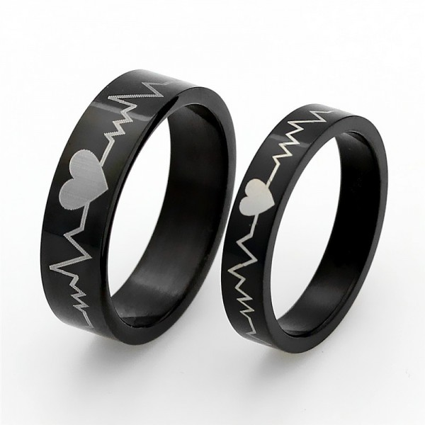 Black Stainless Steel Heartbeat Rings For Couples