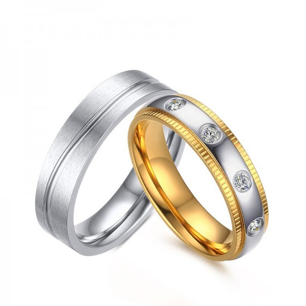 Titanium Silvery Ring For Couples Exquisite and Liberality Inlaid Cubic Zirconia Goldplating and Brushed Craft