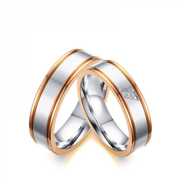 Titanium Silvery Ring For Couples Inlaid Cubic Zirconia Plating Rose Gold Simple and Fashion Brushed Craft