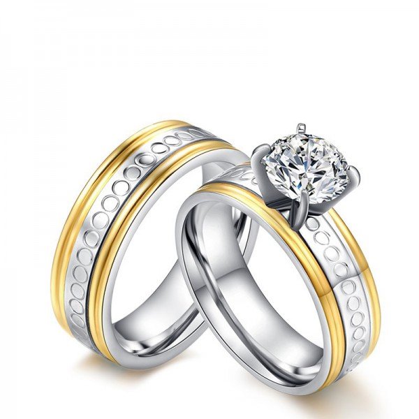 3A Zircon Stylish Titanium Steel Couple Rings Valentine'S Day Present