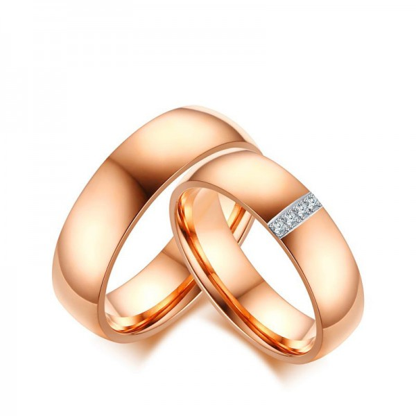 Titanium Rose Gold Ring For Couples Inlaid Cubic Zirconia Fashion and Liberality Polish Craft