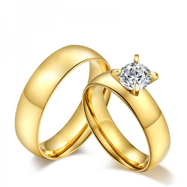 Titanium Golden Ring For Couples Inlaid Cubic Zirconia Luxury and Liberality Polish Craft