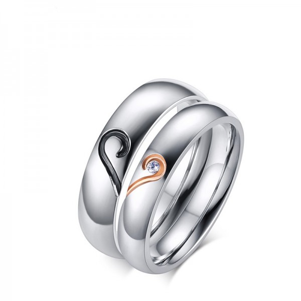 Exquisite Heart-Shaped Design Cubic Zirconia Stainless Steel Couple Rings