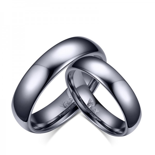 Titanium Silvery Ring For Couples Simple and Fashion Polish Craft Inner Arc Design Comfortable to Wear
