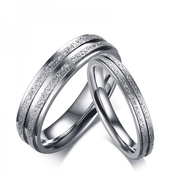 Titanium Silvery Ring For Couples Luxury and Liberality Dull Polish Craft