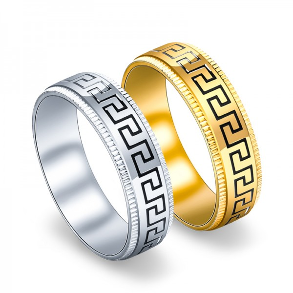 Titanium Silvery and Gold Ring For Couples the Great Wall Pattern Design Simple and Fashion Polish Craft